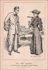 NEWLYWEDS FIRST QUARREL, HE BRINGS COOKBOOKS by James Montgomery Flag 1909