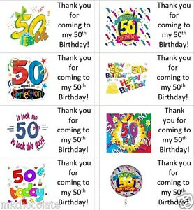 40 x Personalised Happy 50th Birthday labels/stickers/party/cakes/bags