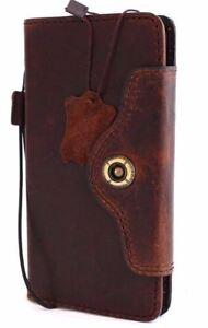 Genuine vintage real leather case fit Huawei Nexus 6P book wallet cover brown uk