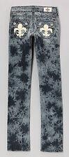 Laguna Beach Dk Blue Burnout Hermosa Embellish Straight Leg Jean size 25-CL0346