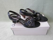 DKNYC Weylin 8M Black Ankle Strap Brush Off Buckle Leather Med.Heel Sandals NIB