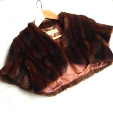 KAREN MILLEN Faux Fur Bolero Jacket Shrug Coat Mink Vintage Style UK 12