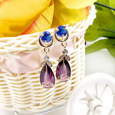 Fashion Women Crystal Gold Plated Multicolor Zircon Earrings Jewelry