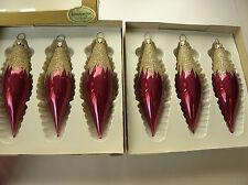 2 Boxes Vintage Icicle Teardrop Cranberry Purple Snow Capped W German Glass Orns