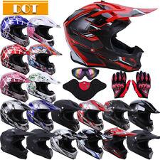 DOT Motocross Helmet Dirt Bike Offroad MX ATV Snowmobile BMX UTV /Goggles Gloves