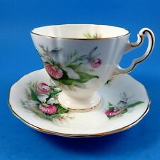 Provincial Flowers Royal Adderley Lady Slipper Orchid Tea Cup and Saucer Set