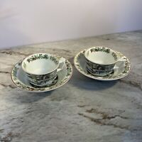 "2 Adams China Winter Scenes 6"" Rimmed Cereal Bowl  And 2 Tea Cups"