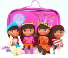 Dora's World Adventures Dolls Nickelodeon Lot 4 In Traveling Zip Up Carry Case