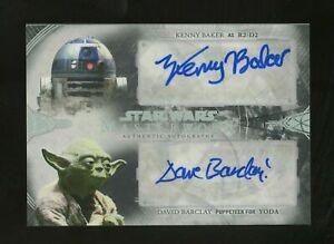 Kenny Baker David Barclay Dual Topps Star Wars Masterwork AUTO 3/5 Yoda & R2-D2!