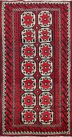 Traditional Tribal Balouch Hand-knotted Area Rug Geometric Oriental Carpet 2'x4'