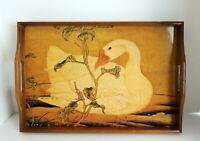 Vintage Swan Duck Goose Wood Tray Laminated Serving Barware Handles