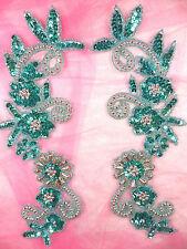 "Appliques Mirror Pair Sequin Beaded Aqua Silver Patch Costume Motif 10"" (0183)"