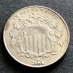 1869 United States 5 Cents 'Shield Nickel'  coin graded VF has cracked die flaw
