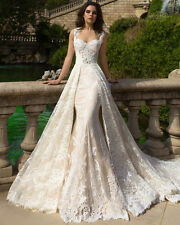 Gorgeous 2017 Ivory/White Lace Mermaid Wedding Dresses Move skirt Bridal Gown