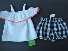 NWT KATE SPADE Baby Infant 18mo 2 piece Outfit Top Shorts White Black pink $54