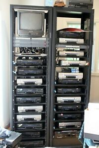 VHS Duplication Equipment, Racks, Amps, Routers, Players, Monitor, Cables
