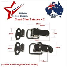 2 x Very Small Steel Spring Toggle Latches --- box chest case latch clip toggles