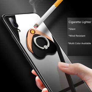 Phone Finger Ring Holder Electric USB Rechargeable Cigarette Lighter Windproof