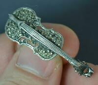 Vintage 1920's Solid Silver & Marcasite Violin Brooch