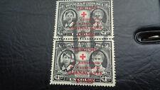 Costa Rica, Briefmarke, 1945, überstempelt in rot 1949, 2 zusammenh. Marken gest