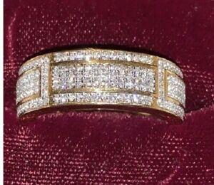 14K Yellow Gold Over 0.50Ct Round Cut Diamond Wedding Band Men's Engagement Ring