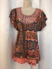 One World Women's Embellished Sequin Neck Short Sleeve Boho Top Blouse Size L