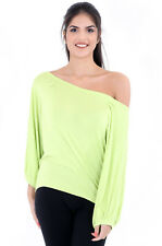 Womens off Shoulder Batwing Top Ladies Jumper Jersey Casual Loose Baggy T Shirt Lime L/xl 16