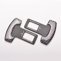 1 paire de fibre de carbone voiture ceinture sécurité boucle d'alarme pince _F