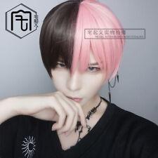 2020 New Black+Pink Mix Short Hair Harajuku Gothic Men Boy BL Daily Cosplay wig