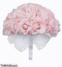 Pink Silk Rose Hand Tie (36 Roses) - Artificial Silk Bridal Wedding Bouquet
