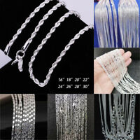 Wholesale 20Pcs 925 Sterling Silver Rope Chain Twist Necklace Wedding Jewelry