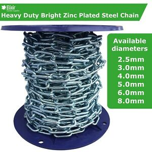 Galvanized Steel Chain   Strong, Heavy Duty, Zinc Plated Welded Security Links