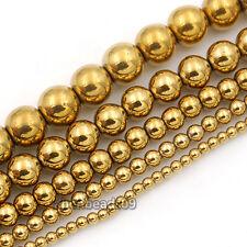 """Natural Hematite Gemstone Round Spacer Beads 15.5"""" 2mm 3mm 4mm 6mm 8mm 10mm"""
