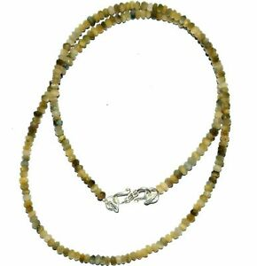 """18""""inch Necklace Natural Cat's Eye Rondelle Faceted 3-4mm Beads Silver Lock"""