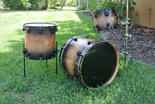 dw USA 3 pc 22/12/16 DRUM SET in CANDY BLACK BURST over EXOTIC STRANGE MAPLE