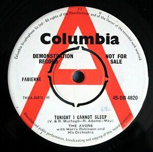 "THE AVONS Tonight I Cannot Sleep UK DEMO 7"" DB 4820 NMINT! 1962 Girl Group"