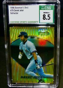 CSG 8.5 NM/Mint+ 1996 Bowman's Best DEREK JETER Baseball Card #79 Refractor