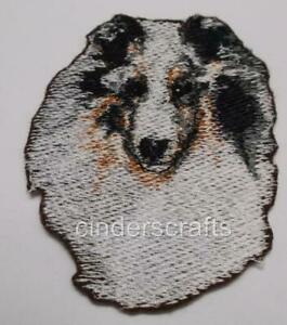 """Machine Embroidered Blue Merle Sheltie Applique  2.7"""" X 3.1"""" or 5.3"""" X 6.0"""""""