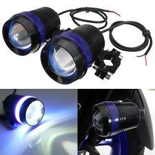 1 Pair 30W Motorcycle U3 LED Driving Fog Spot Head light & Angel Eye Lamp New