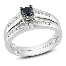 14k White Gold 1/2 CT TDW Black and White Diamond Engagement Bridal Ring Set