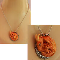 Necklace Dragon Gold Pendant Jewelry Handmade NEW Hand Sculpted NEW Clay Silver