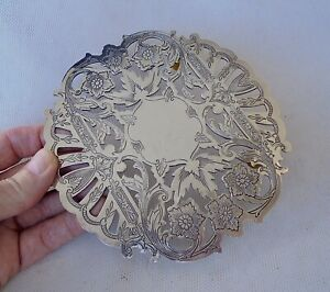 """Vintage Silver Plated WALLACE Trivet - Ornate Reticulated Teapot Stand - 6.25"""""""