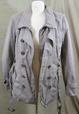 Kenneth Cole Reaction Jacket Cotton Trench Coat Beige Belted Size Large Women's