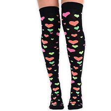 Womens Girls Novelty Romantic Hearts Over the Knee-High Socks - UK Size 4-6.5