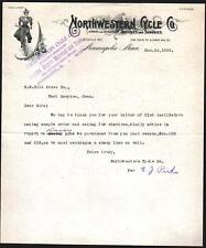 1899 Minneapolis Bicycle -  Northwestern Cycle Co  RARE Letter Head history