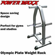 POWER MAXX Olympic Weight Plate Rack Stand Tree Storage Fitness Training Gym