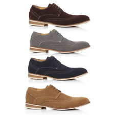 Mens Faux Suede Lace Up Casual Formal Office Work Lace Up Brogues Shoes
