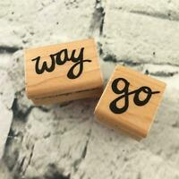 """Way & Go TRL Design Co Set Of 2 Rubber Stamps Mounted Words Encouragement 1""""-2"""""""