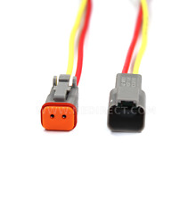 """16 AWG Assembled Deutsch 2 Pin waterproof connector 6"""" wire for Engine Gearbox"""