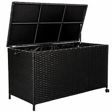 Aluminium rattan cushion box garden storage chest large patio trunk with lid
